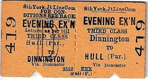 Dinnington railway ticket
