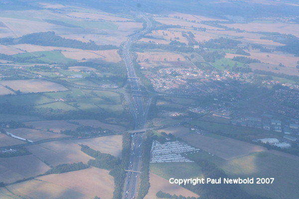M1 junction 30 and clowne aeriel view